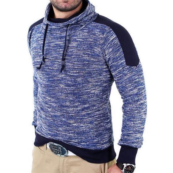 Reslad Herren Huge Collar Sweatshirt Pullover RS-105 Blau L