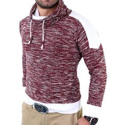 Reslad Herren Huge Collar Sweatshirt Pullover RS-105 Bordeaux S