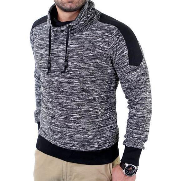 Reslad Herren Huge Collar Sweatshirt Pullover RS-105 Schwarz L