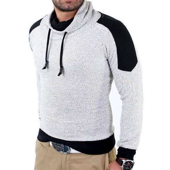 Reslad Herren Huge Collar Sweatshirt Pullover RS-105 Weiß 2XL