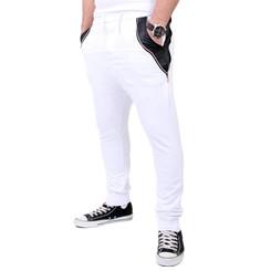 Reslad Jogginghose Herren PU-Leder Patched Sweatpant Sporthose RS-306 Weiß M