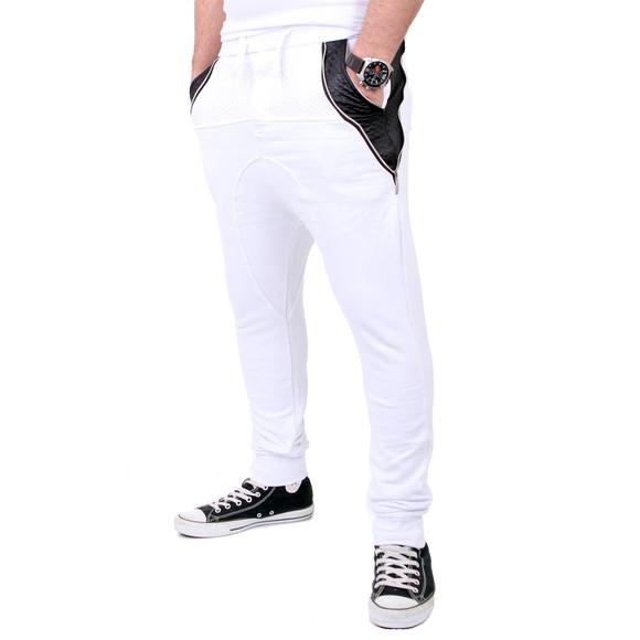 Reslad Jogginghose Herren PU-Leder Patched Sweatpant Sporthose RS-306 Weiß L