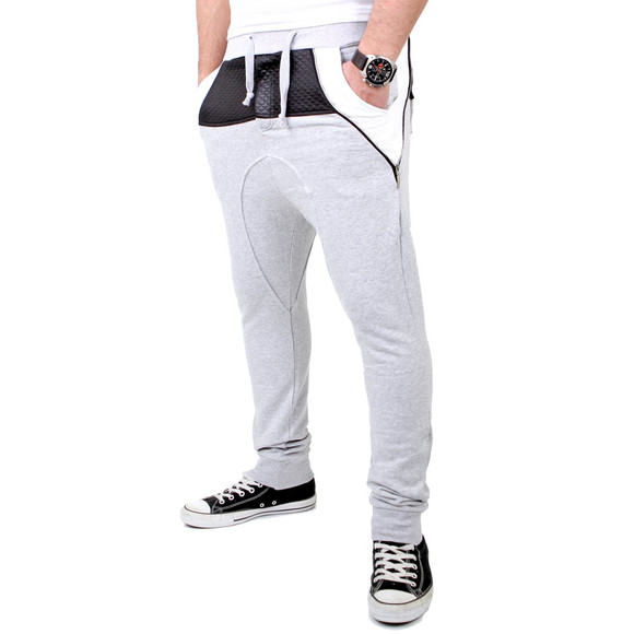 Reslad Jogginghose Herren PU-Leder Patched Sweatpant Sporthose RS-306 Grau L