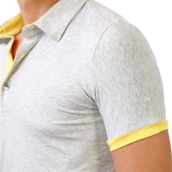 Reslad Herren Poloshirt Kansas RS-5055 Grau-Gelb 2XL