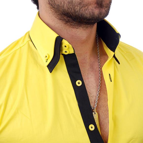 Reslad Herren Langarm Hemd Alabama RS-7050 Gelb-Schwarz S