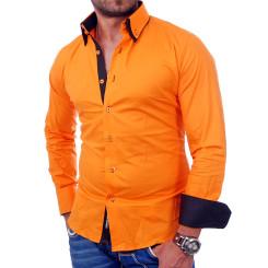 Reslad Herren Langarm Hemd Alabama RS-7050 Orange-Schwarz S
