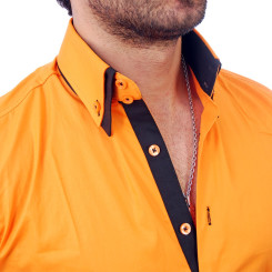 Reslad Herren Langarm Hemd Alabama RS-7050 Orange-Schwarz M