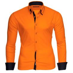 Reslad Herren Langarm Hemd Alabama RS-7050 Orange-Schwarz XL