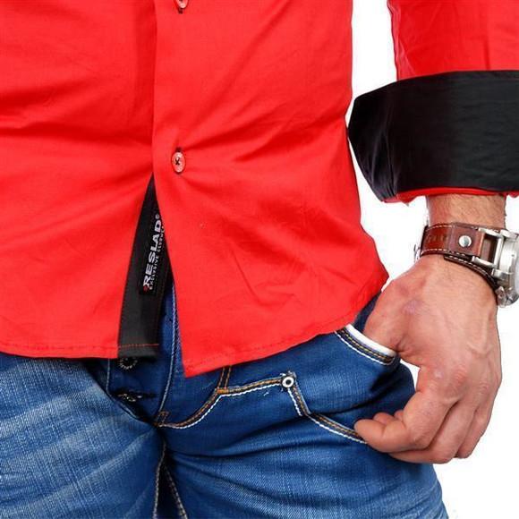 Reslad Herren Langarm Hemd Alabama RS-7050 Rot-Schwarz M