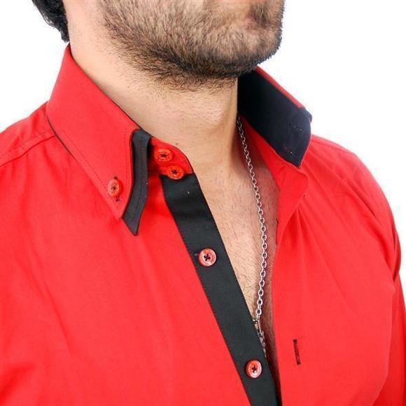 Reslad Herren Langarm Hemd Alabama RS-7050 Rot-Schwarz 2XL