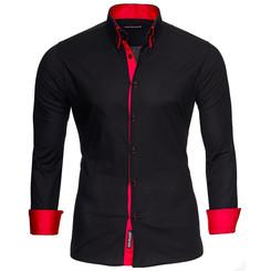 Reslad Herren Langarm Hemd Alabama RS-7050 Schwarz-Rot 2XL