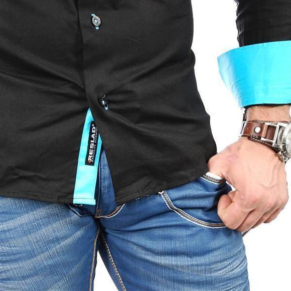 Reslad Herren Langarm Hemd Alabama RS-7050 Schwarz-Türkis XL