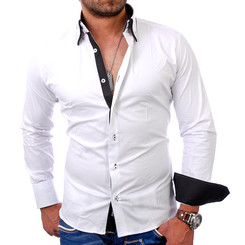 Reslad Herren Langarm Hemd Alabama RS-7050 Weiß-Schwarz M