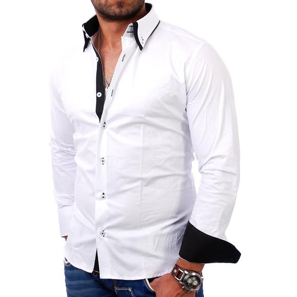 Reslad Herren Langarm Hemd Alabama RS-7050 Weiß-Schwarz 2XL