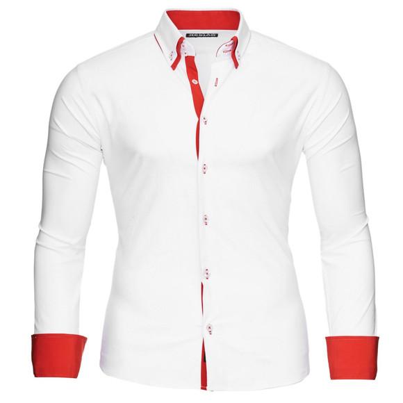 Reslad Herren Hemd Alabama RS-7050 L Weiß-Rot
