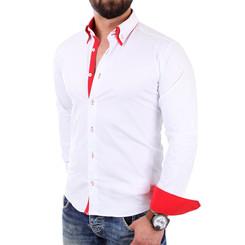 Reslad Herren Hemd Alabama RS-7050 XL Weiß-Rot