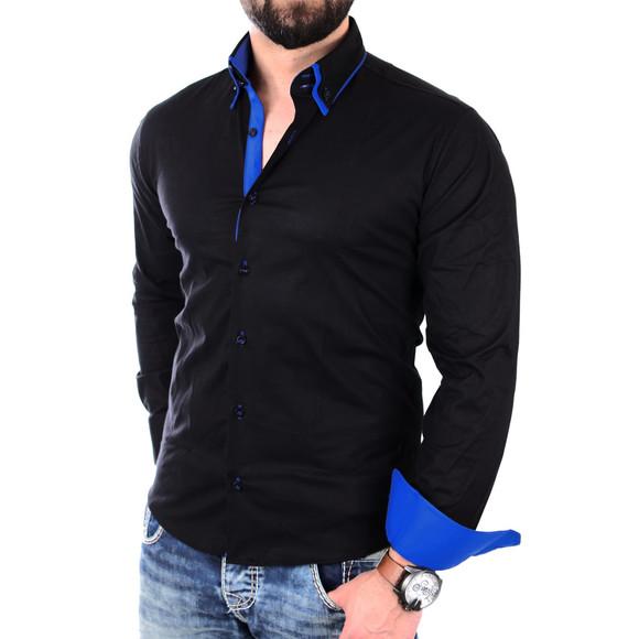 Reslad Herren Hemd Alabama RS-7050 S Schwarz-Blau