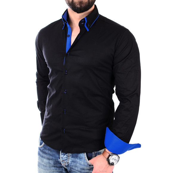 Reslad Herren Hemd Alabama RS-7050 XL Schwarz-Blau