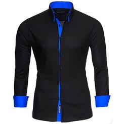 Reslad Herren Hemd Alabama RS-7050 2XL Schwarz-Blau