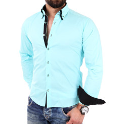Reslad Herren Hemd Alabama RS-7050 M Mint-Schwarz