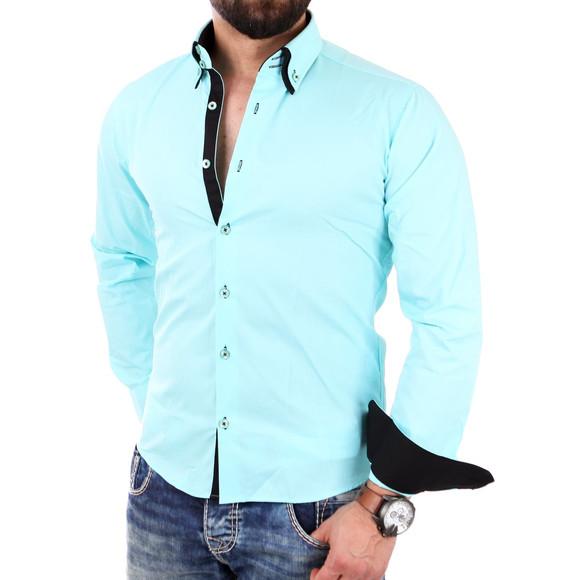 Reslad Herren Hemd Alabama RS-7050 L Mint-Schwarz