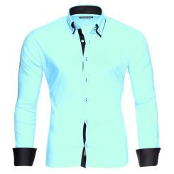 Reslad Herren Hemd Alabama RS-7050 XL Mint-Schwarz