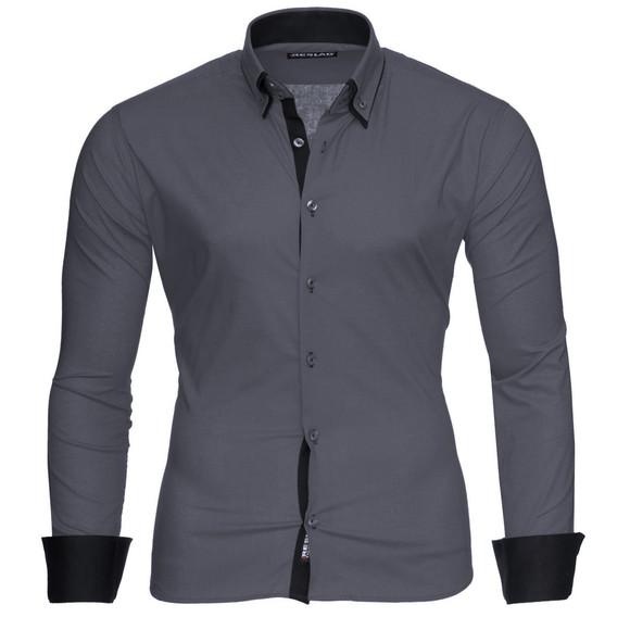 Reslad Herren Hemd Alabama RS-7050 Anthrazit-Schwarz M