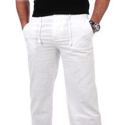 Reslad Herren Leinen Hose Corona RS-3000 Weiß S