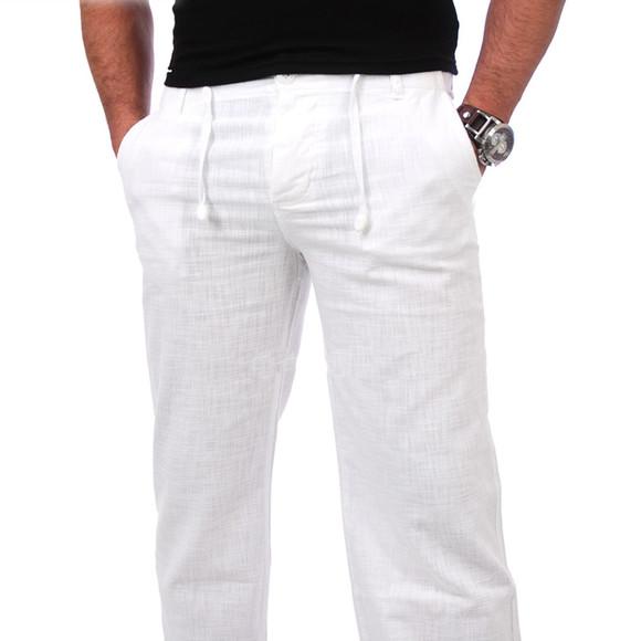 Reslad Herren Leinen Hose Corona RS-3000 Weiß M