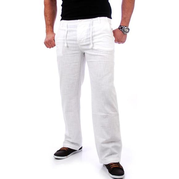 Reslad Herren Leinen Hose Corona RS-3000 Weiß XL