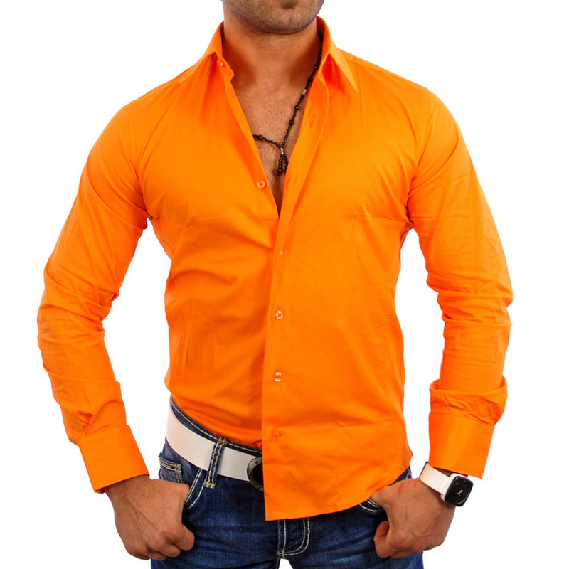 Reslad Herren Hemd Long Dayton RS-7001 Orange XL