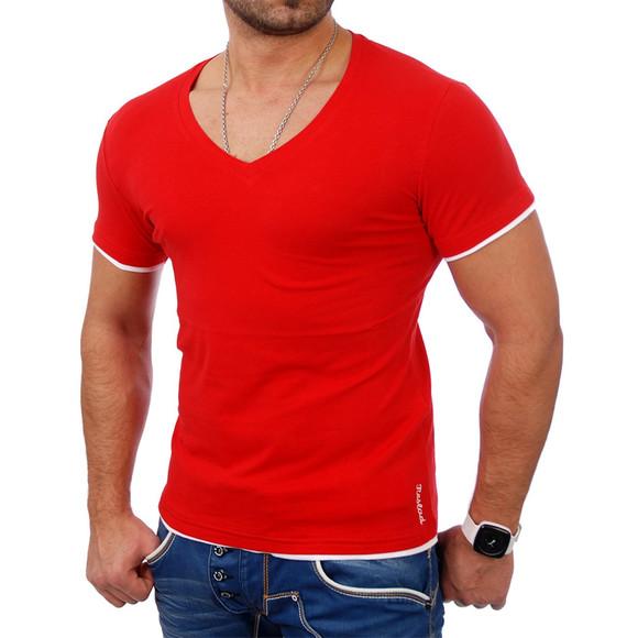 Reslad Herren T-Shirt Miami RS-5050 Rot-Weiß XL