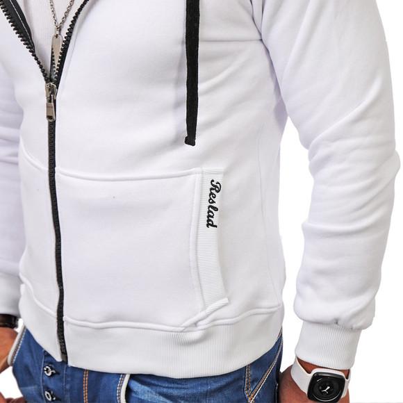 Reslad Herren Kapuzen Sweatjacke Chicago RS-1002 Weiß S