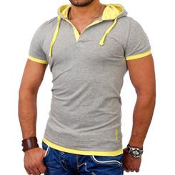 Reslad Herren Kapuzen T-Shirt San Diego RS-5033 Grau-Gelb S