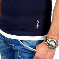 Reslad Herren Kapuzen T-Shirt San Diego RS-5033 Navy-Weiß S