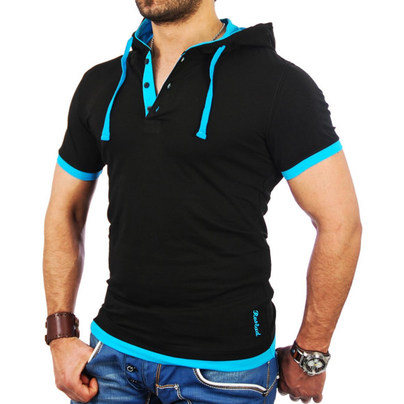 Reslad Herren Kapuzen T-Shirt San Diego RS-5033 Schwarz-Türkis M