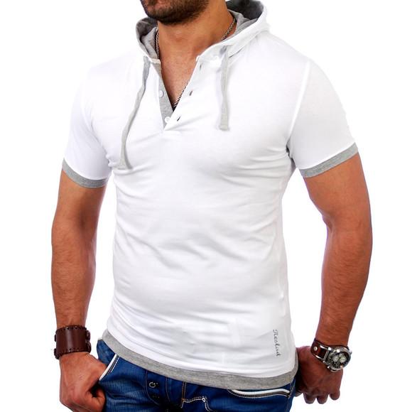 Reslad Herren Kapuzen T-Shirt San Diego RS-5033 Weiß-Grau S
