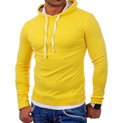 Reslad Herren Kapuzen Sweatshirt RS-1003 Gelb-Weiß S