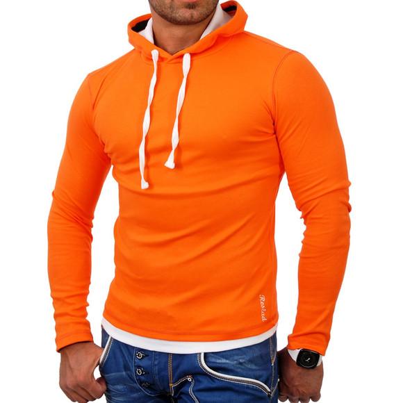 Reslad Herren Kapuzen Sweatshirt RS-1003 Orange-Weiß S