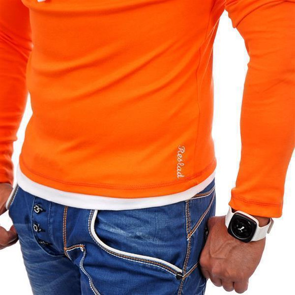 Reslad Herren Kapuzen Sweatshirt RS-1003 Orange-Weiß XL