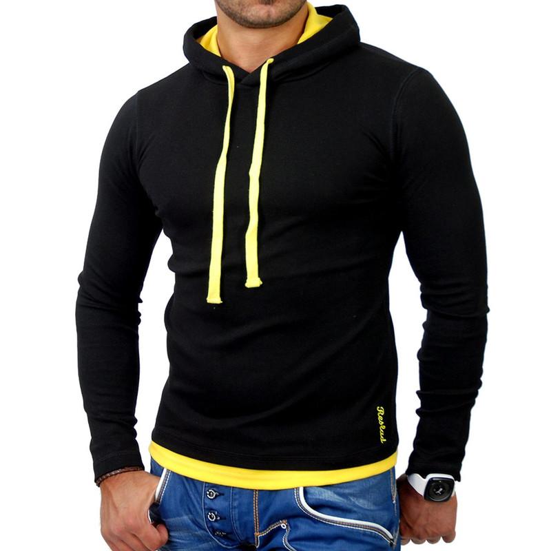 online store 3be1c 456ed Reslad Herren Kapuzen Sweatshirt RS-1003 Schwarz-Gelb 2XL