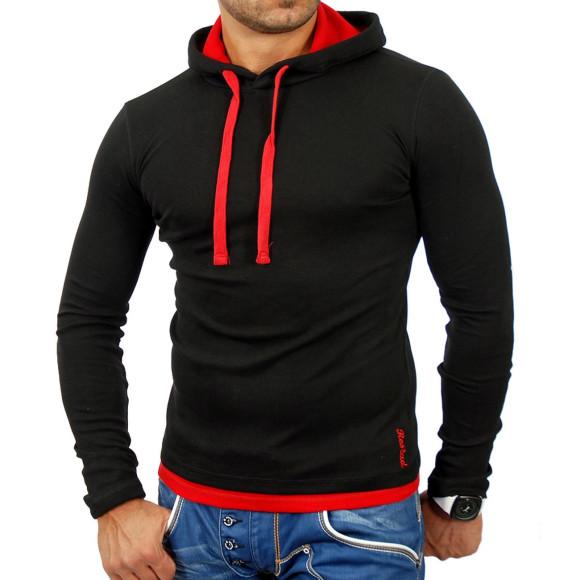 Reslad Herren Kapuzen Sweatshirt RS-1003 Schwarz-Rot M