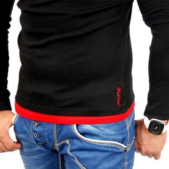 Reslad Herren Kapuzen Sweatshirt RS-1003 Schwarz-Rot XL