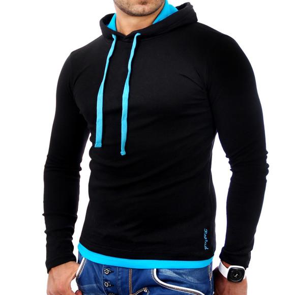 Reslad Herren Kapuzen Sweatshirt RS-1003 Schwarz-Türkis L