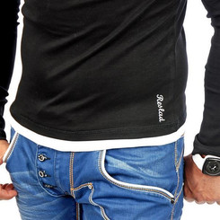 Reslad Herren Kapuzen Sweatshirt RS-1003 Schwarz-Weiß M
