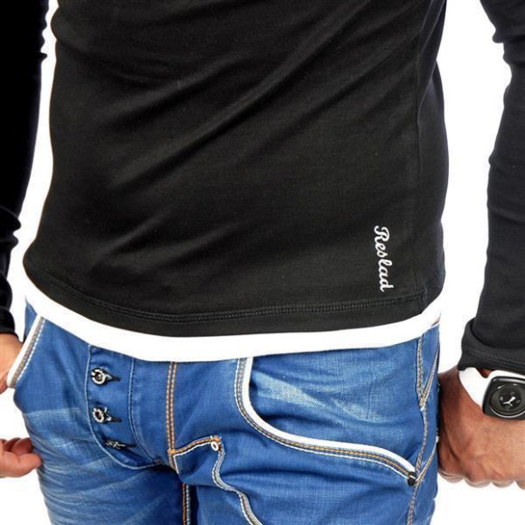 Reslad Herren Kapuzen Sweatshirt RS-1003 Schwarz-Weiß XL