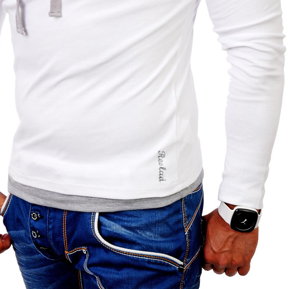 Reslad Herren Kapuzen Sweatshirt RS-1003 Weiß-Grau M