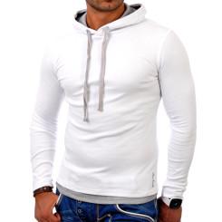 Reslad Herren Kapuzen Sweatshirt RS-1003 Weiß-Grau L