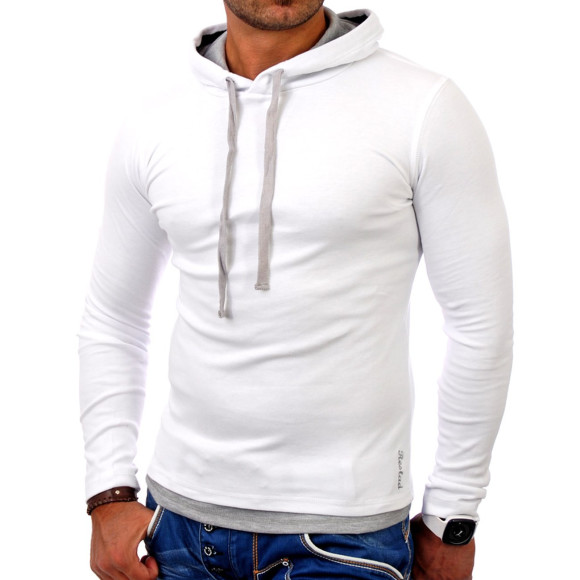 Reslad Herren Kapuzen Sweatshirt RS-1003 Weiß-Grau XL
