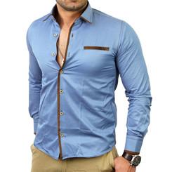 Reslad Herren Langarm Jeans Hemd RS-7110 Royalblau S